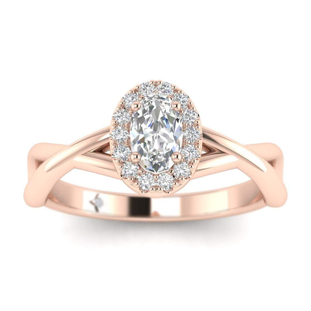 Oval Diamond Twist Halo Engagement Ring in Rose Gold - Custom Made