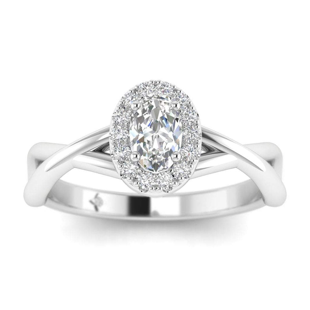 Oval Diamond Twist Halo Engagement Ring in White Gold - Custom Made