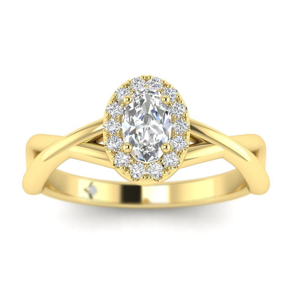 Oval Diamond Twist Halo Engagement Ring in Yellow Gold - Custom Made