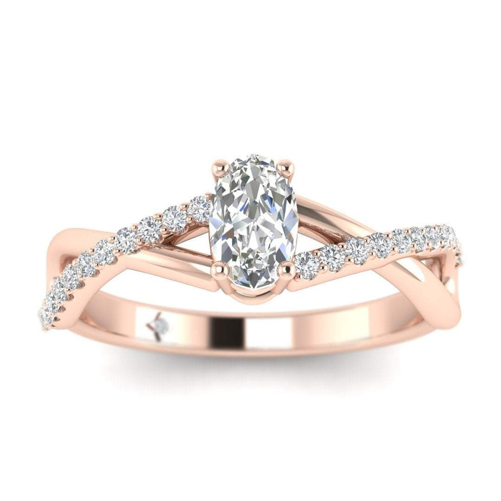 Oval Diamond Twist Pave Engagement Ring in Rose Gold - Custom Made