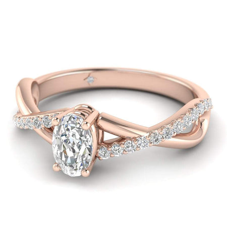EN Oval Diamond Twist Pave Engagement Ring in Rose Gold