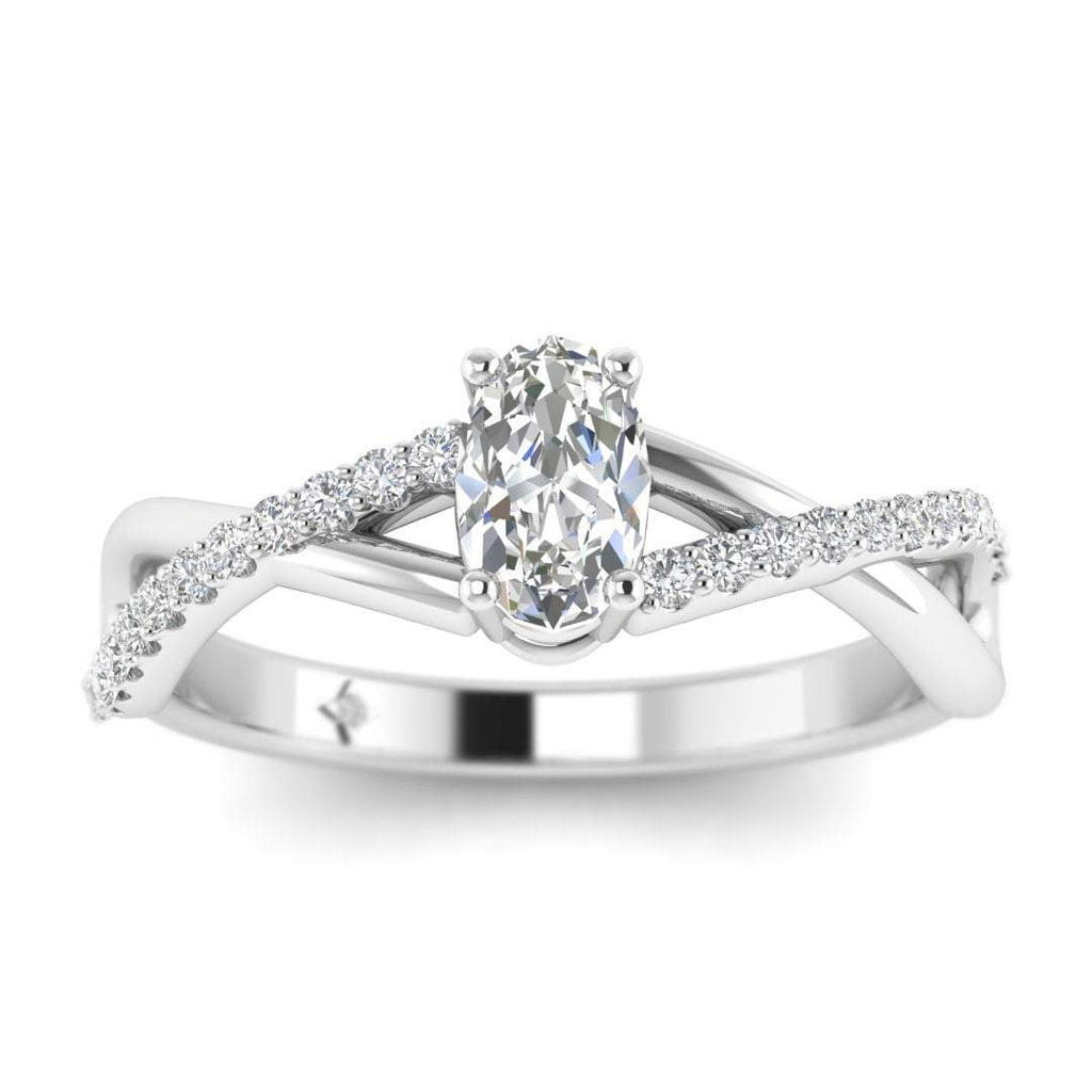 Oval Diamond Twist Pave Engagement Ring in White Gold - Custom Made