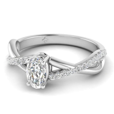 EN Oval Diamond Twist Pave Engagement Ring in White Gold