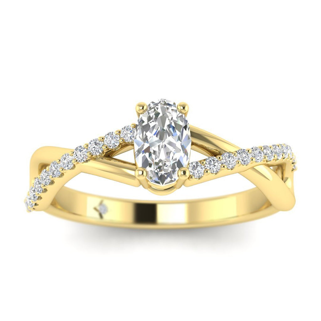 Oval Diamond Twist Pave Engagement Ring in Yellow Gold - Custom Made