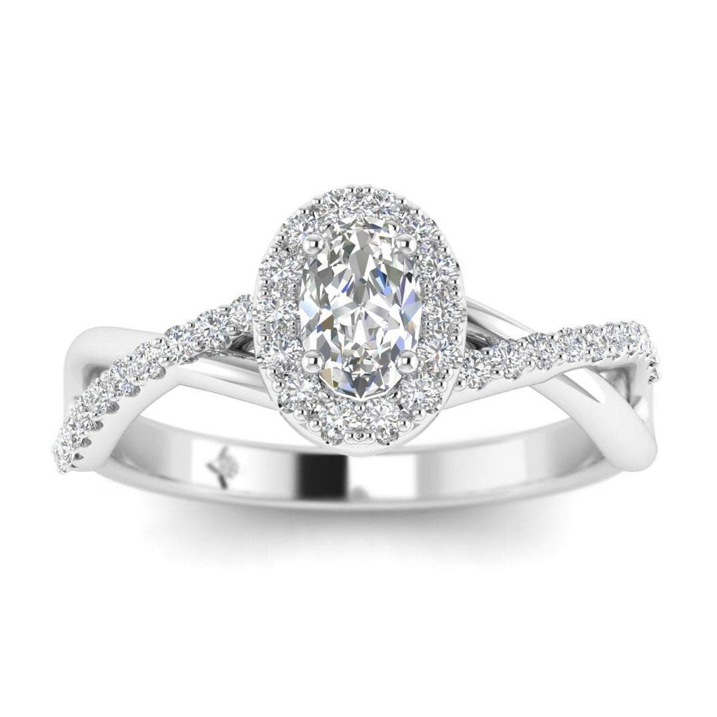 Oval Diamond Twist Pave Halo Engagement Ring in White Gold - Custom Made