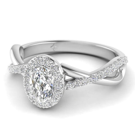EN Oval Diamond Twist Pave Halo Engagement Ring in White Gold