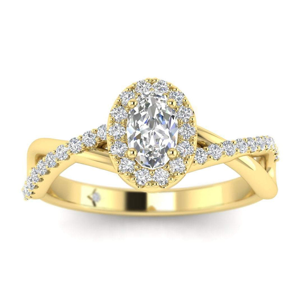 Oval Diamond Twist Pave Halo Engagement Ring in Yellow Gold - Custom Made