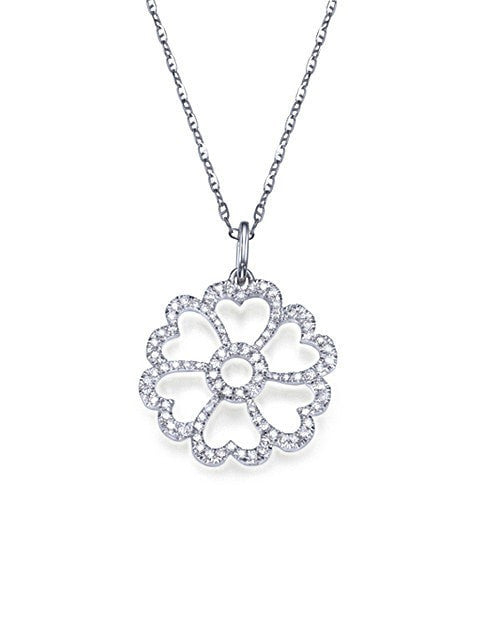Pave Diamond Pendant Necklace in White Gold - 'Heart Flower' Design - Shiree Odiz