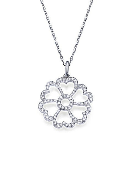 Pendants Pave Diamond Pendant Necklace in White Gold - 'Heart Flower' Design