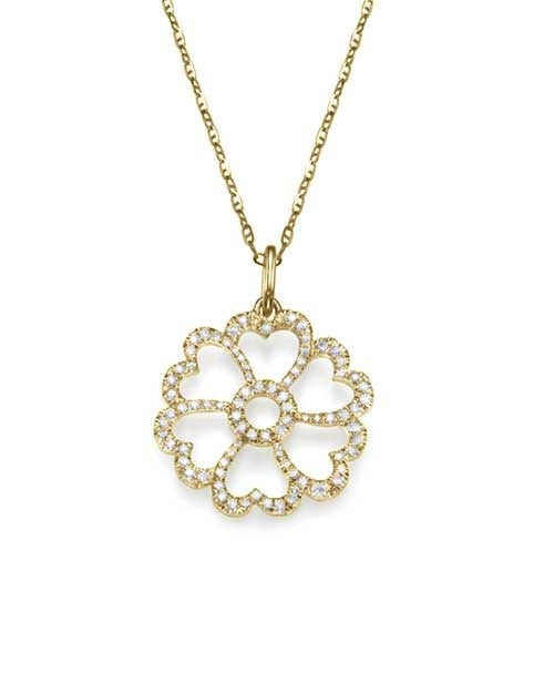 Pendants Pave Diamond Pendant Necklace in Yellow Gold - 'Heart Flower' Design