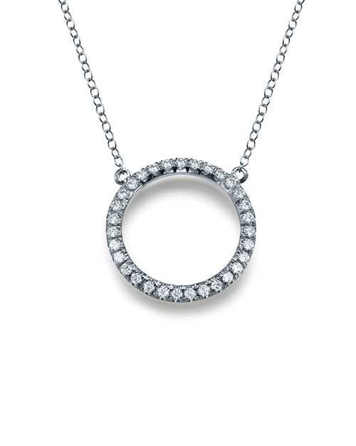 Pave Set Circle 0.30 carat Diamond Pendant Necklace in White Gold - 'Eternity' Design - Custom Made