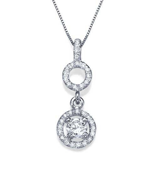 Pendants Pave Set Circled Diamond Pendant Necklace in White Gold - 'Halos' Design