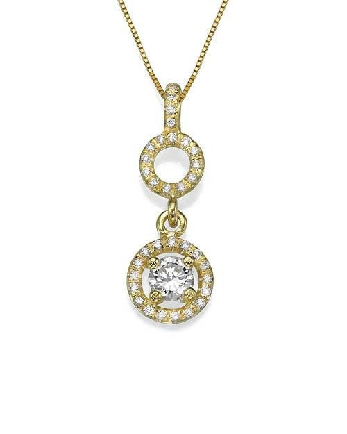 Pendants Pave Set Circled Diamond Pendant Necklace in Yellow Gold - 'Halos' Design