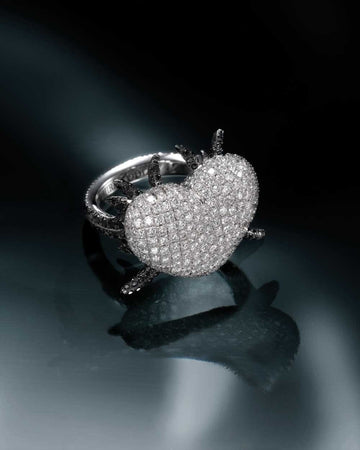 Tribal Pave Set Designer 'Devotion' Heart Diamond Tribal Ring