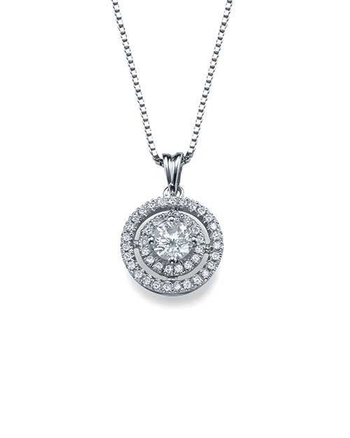 Pendants Pave Set Double Halo Round Diamond Pendant Necklace in White Gold - 0.80 carat