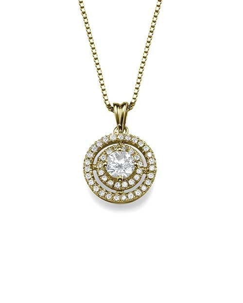 Pendants Pave Set Double Halo Round Diamond Pendant Necklace in Yellow Gold - 0.80 carat