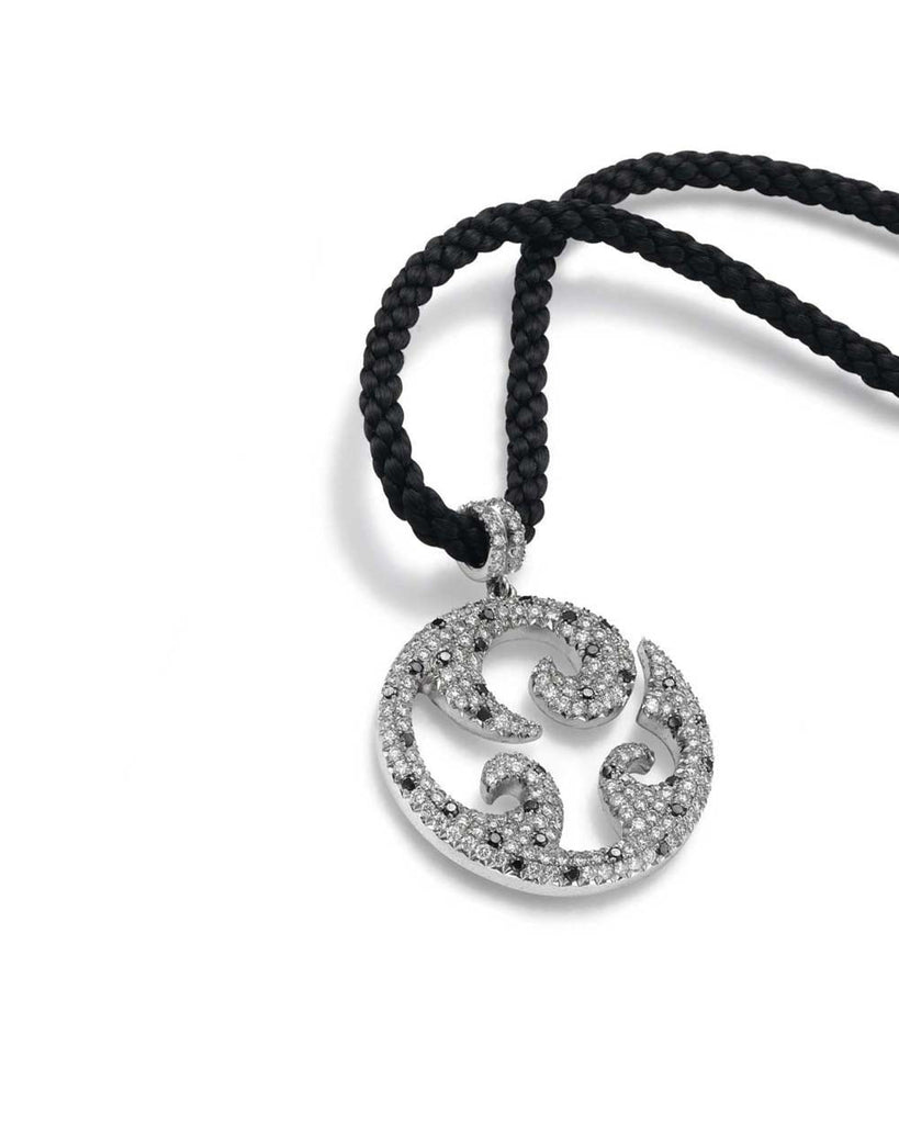 Tribal Pave Set 'Serpant' Black and White Diamond Tribal Pendant Necklace