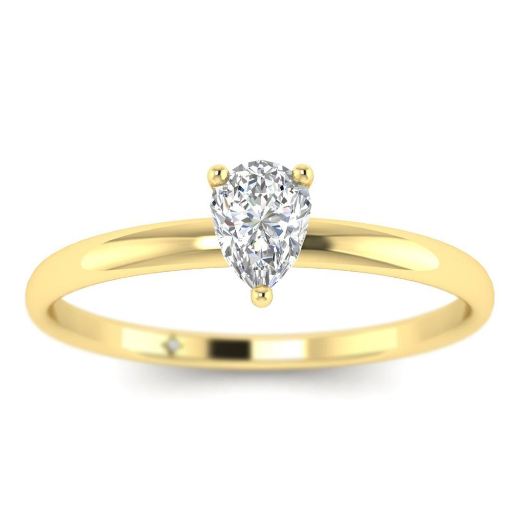 Pear Shaped Diamond Solitaire Engagement Ring in Yellow Gold - Custom Made