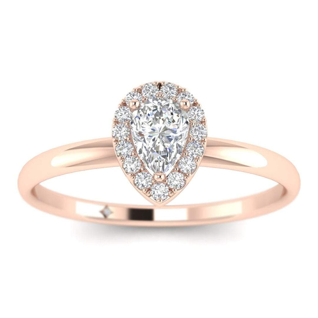 Pear Shaped Diamond Halo Engagement Ring in Rose Gold - Custom Made