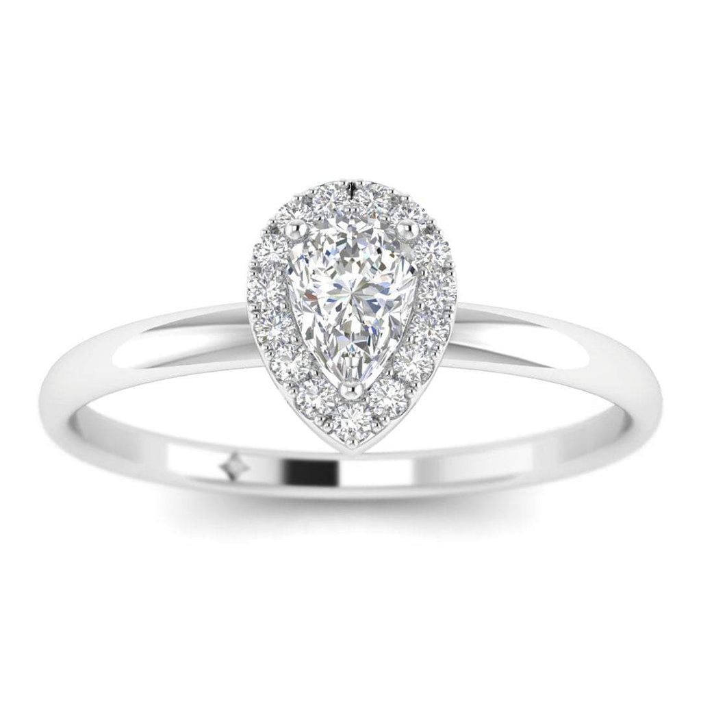 Pear Shaped Diamond Halo Engagement Ring in White Gold - Custom Made