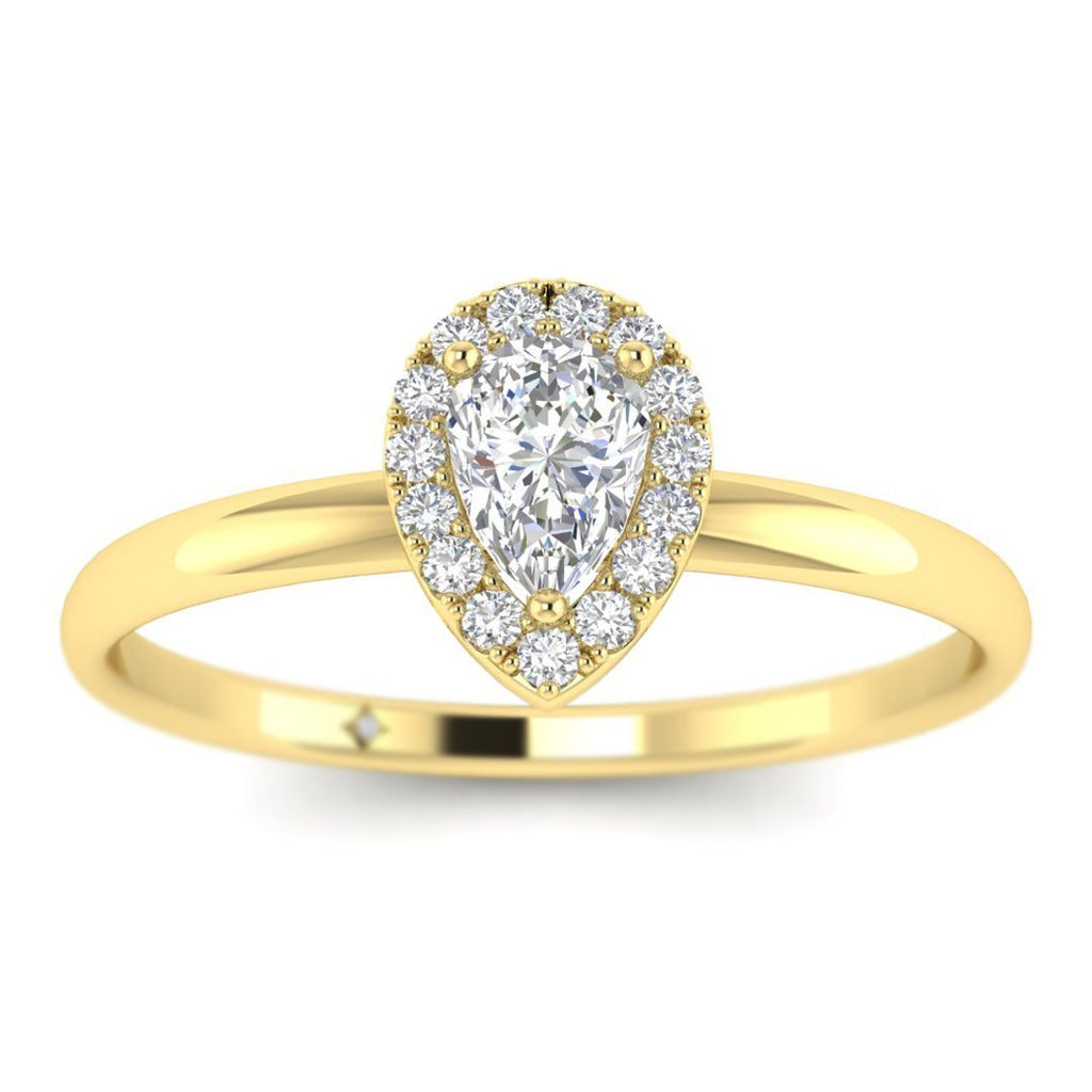 Pear Shaped Diamond Halo Engagement Ring in Yellow Gold - Custom Made