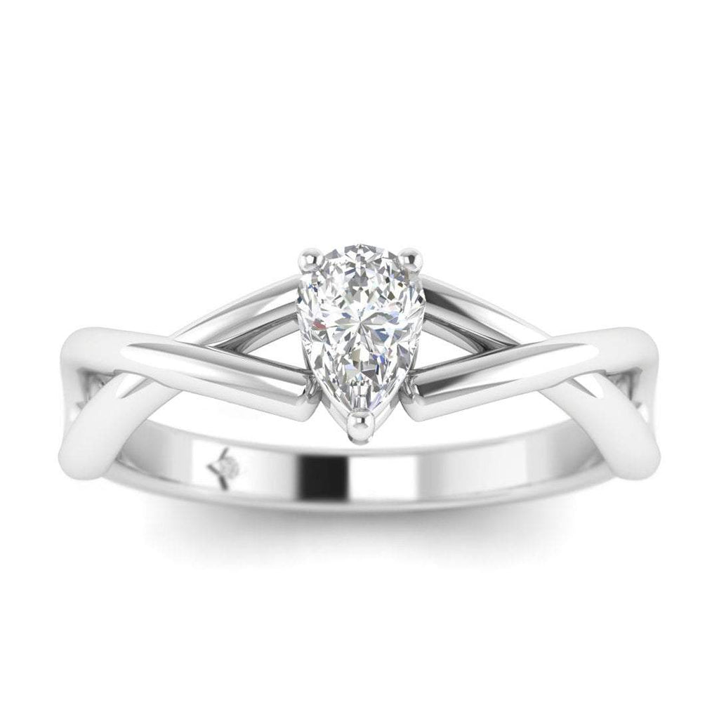 Pear Shaped Diamond Infinity Twist Solitaire Engagement Ring in White Gold - Custom Made