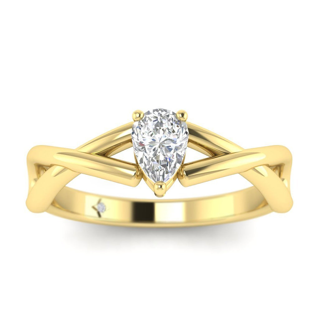 Pear Shaped Diamond Infinity Twist Solitaire Engagement Ring in Yellow Gold - Custom Made