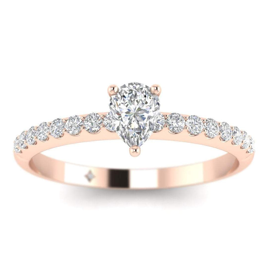 Pear Shaped Diamond Pave Engagement Ring in 14K Rose Gold - 0.50 carat - Custom Made