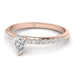 EN-WA-14-NAT-D-SI1-EX Pear Shaped Diamond Pave Engagement Ring in 14K Rose Gold - 0.50 carat