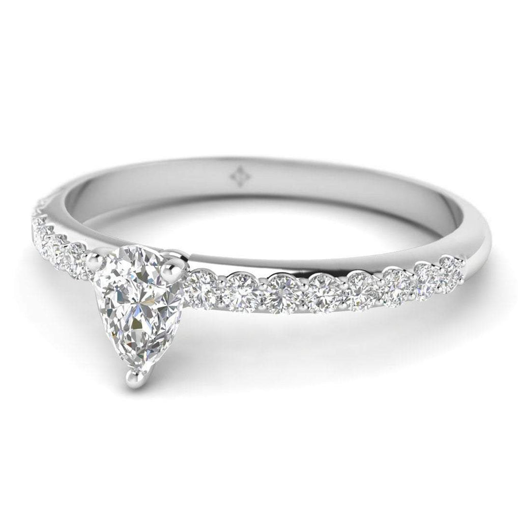 Pear Shaped Diamond Pave Engagement Ring in 14K White Gold - 0.30 carat - Custom Made