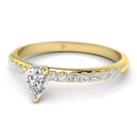 EN-WA-14-NAT-D-SI1-EX Pear Shaped Diamond Pave Engagement Ring in 14K Yellow Gold - 0.20 carat