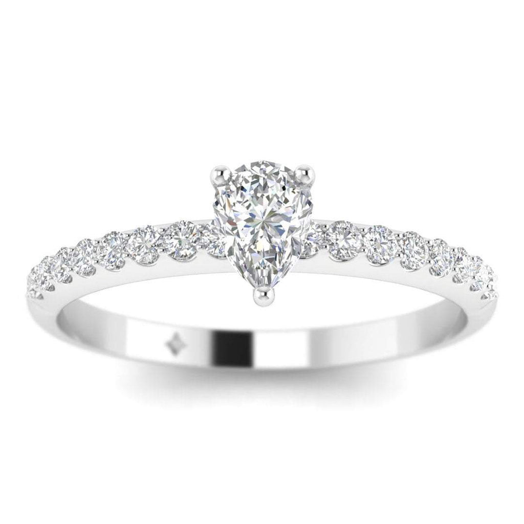 Pear Shaped Diamond Pave Engagement Ring in White Gold - Custom Made