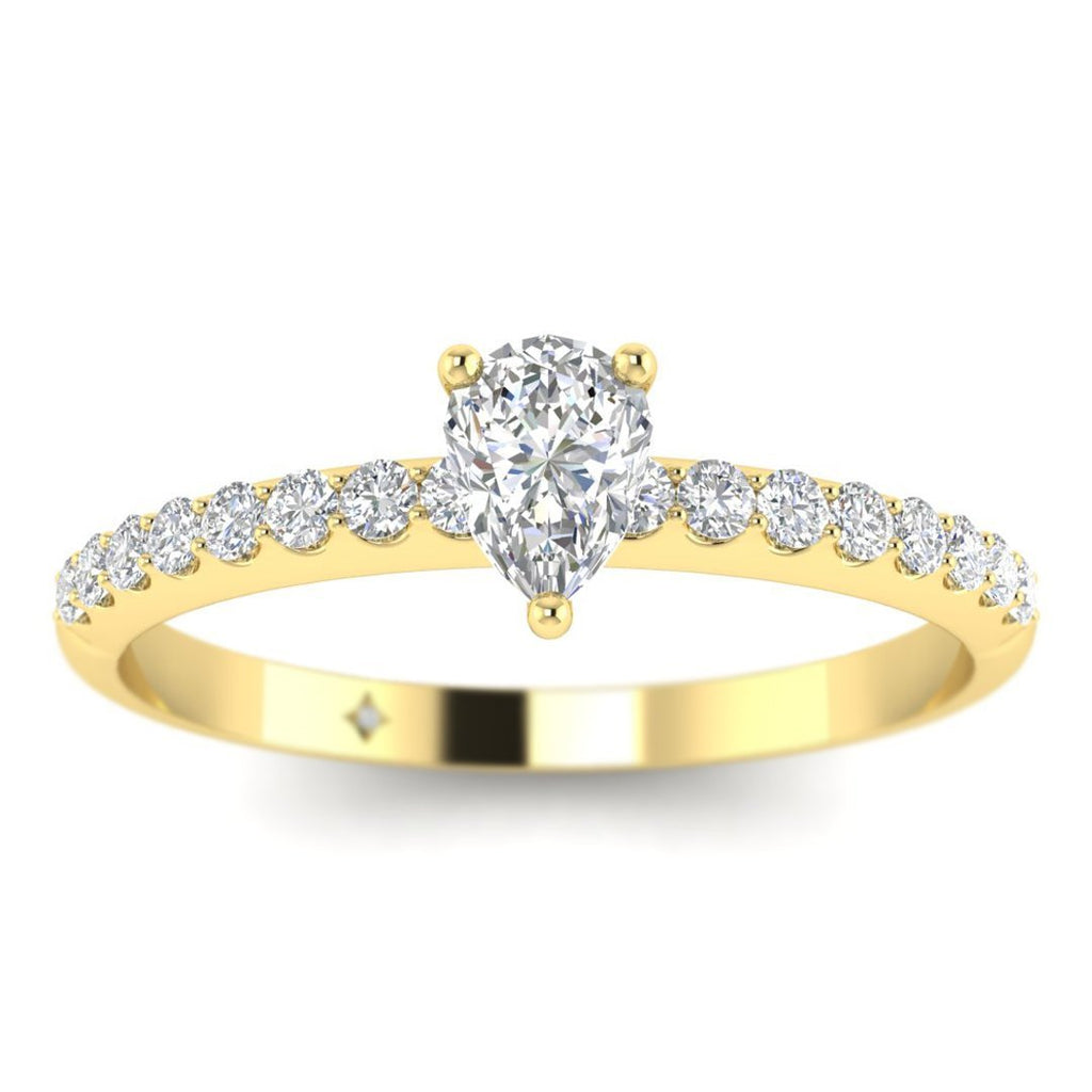 Pear Shaped Diamond Pave Engagement Ring in Yellow Gold - Custom Made