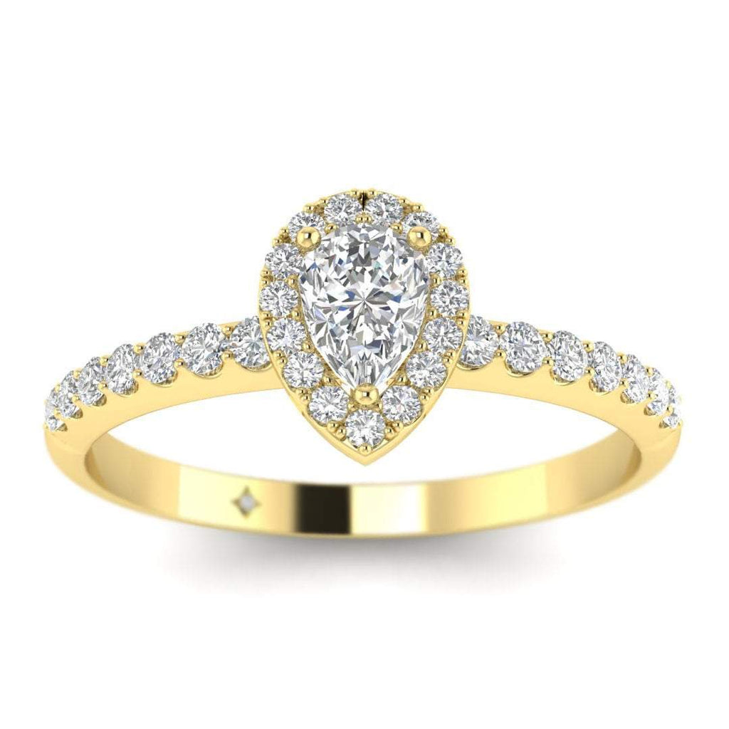 Pear Shaped Diamond Pave Halo Engagement Ring in Yellow Gold - Custom Made