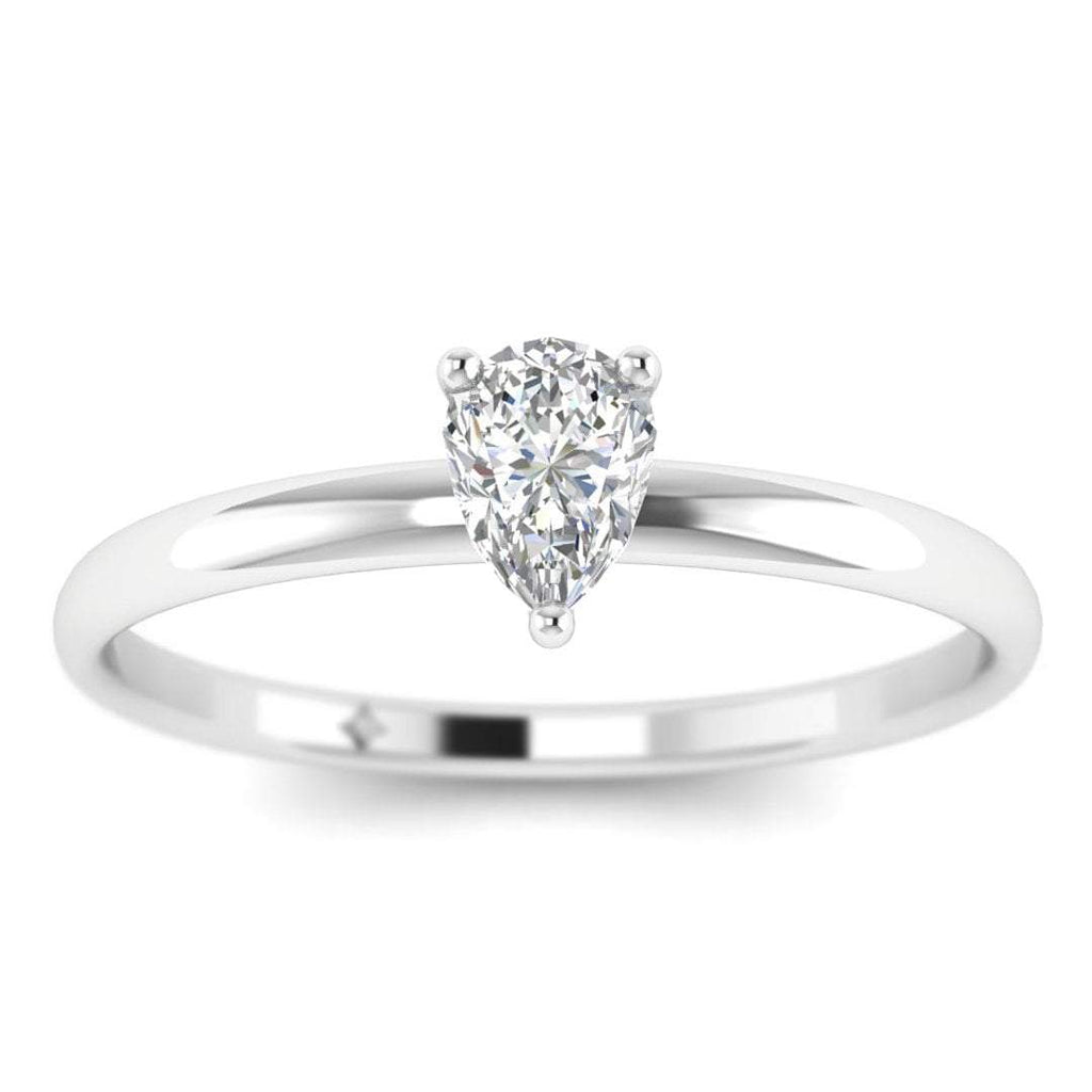Pear Shaped Diamond Solitaire Engagement Ring in White Gold - Custom Made