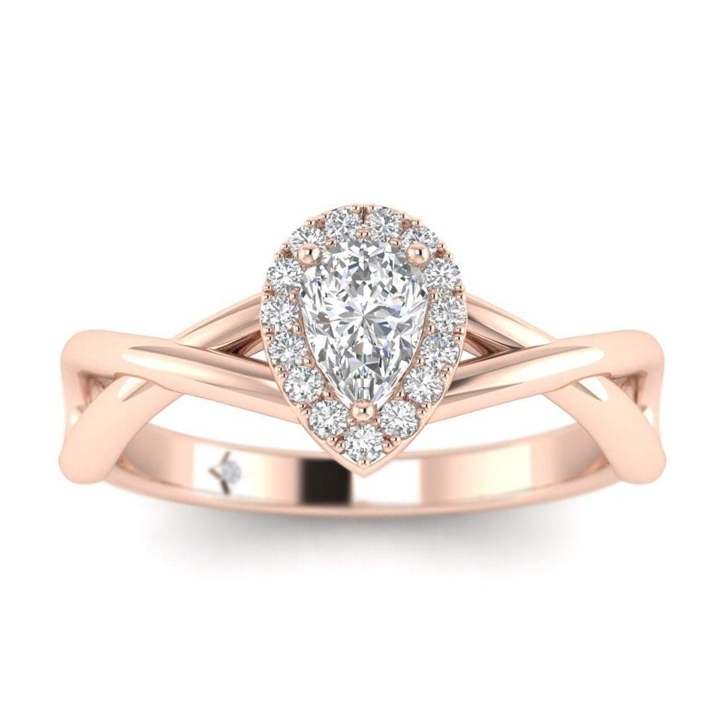 Pear Shaped Diamond Twist Halo Engagement Ring in Rose Gold - Custom Made