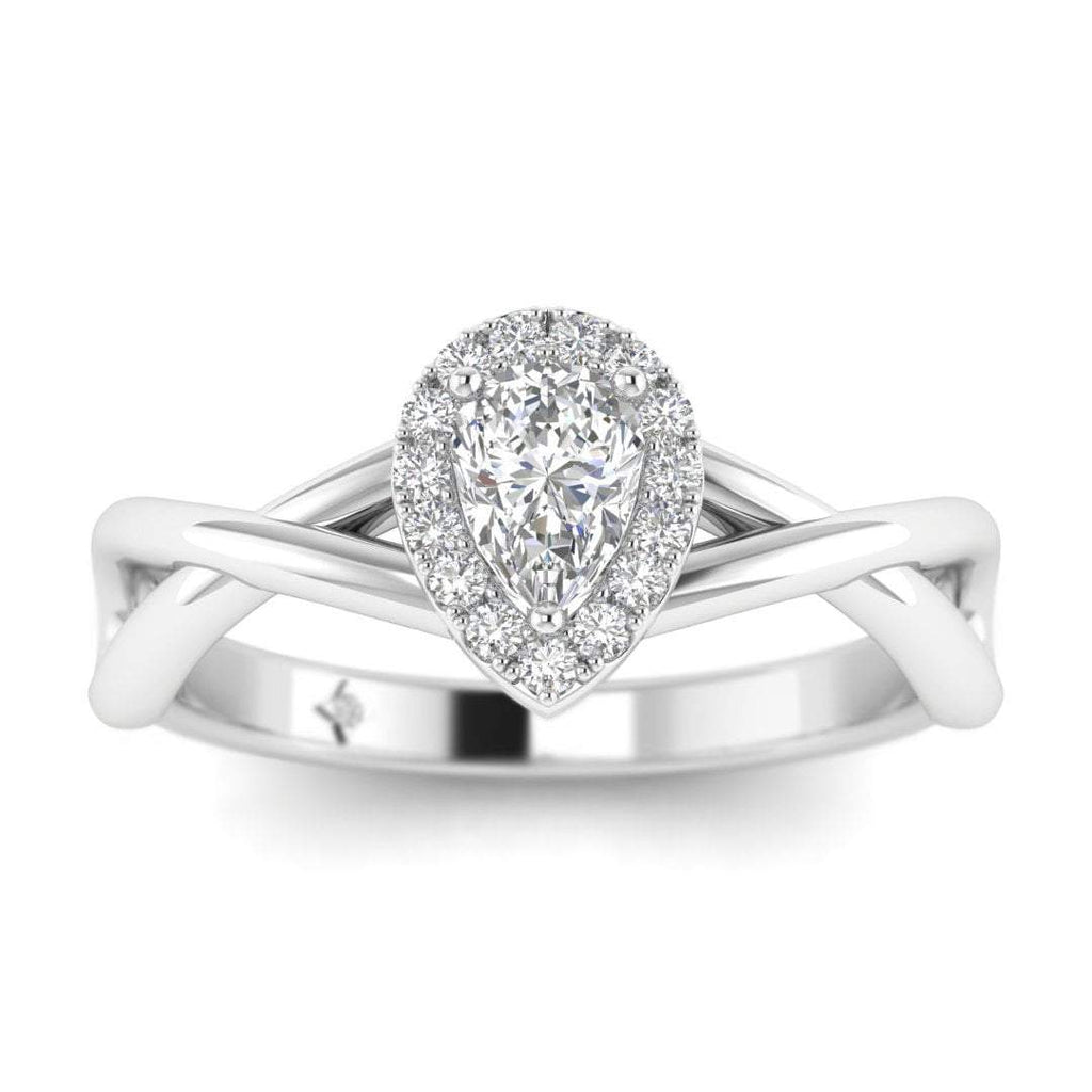 Pear Shaped Diamond Twist Halo Engagement Ring in White Gold - Custom Made