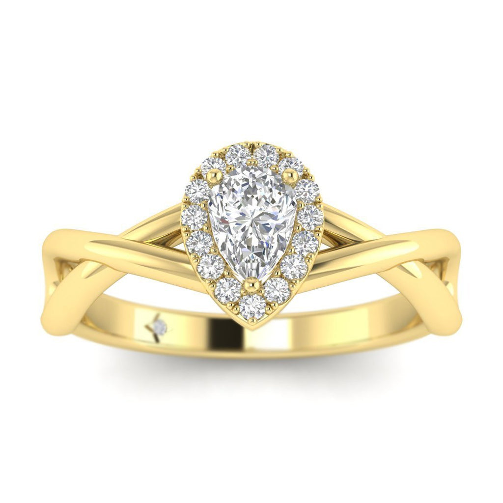 Pear Shaped Diamond Twist Halo Engagement Ring in Yellow Gold - Custom Made