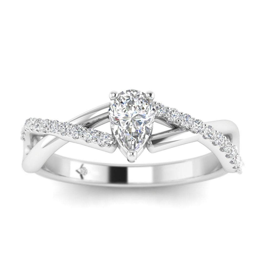 Pear Shaped Diamond Twist Pave Engagement Ring in White Gold - Custom Made