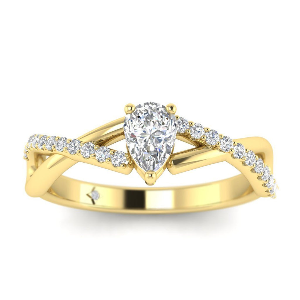 Pear Shaped Diamond Twist Pave Engagement Ring in Yellow Gold - Custom Made