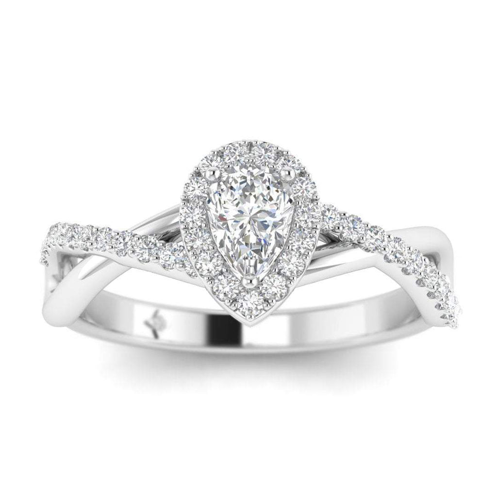 Pear Shaped Diamond Twist Pave Halo Engagement Ring in White Gold - Custom Made