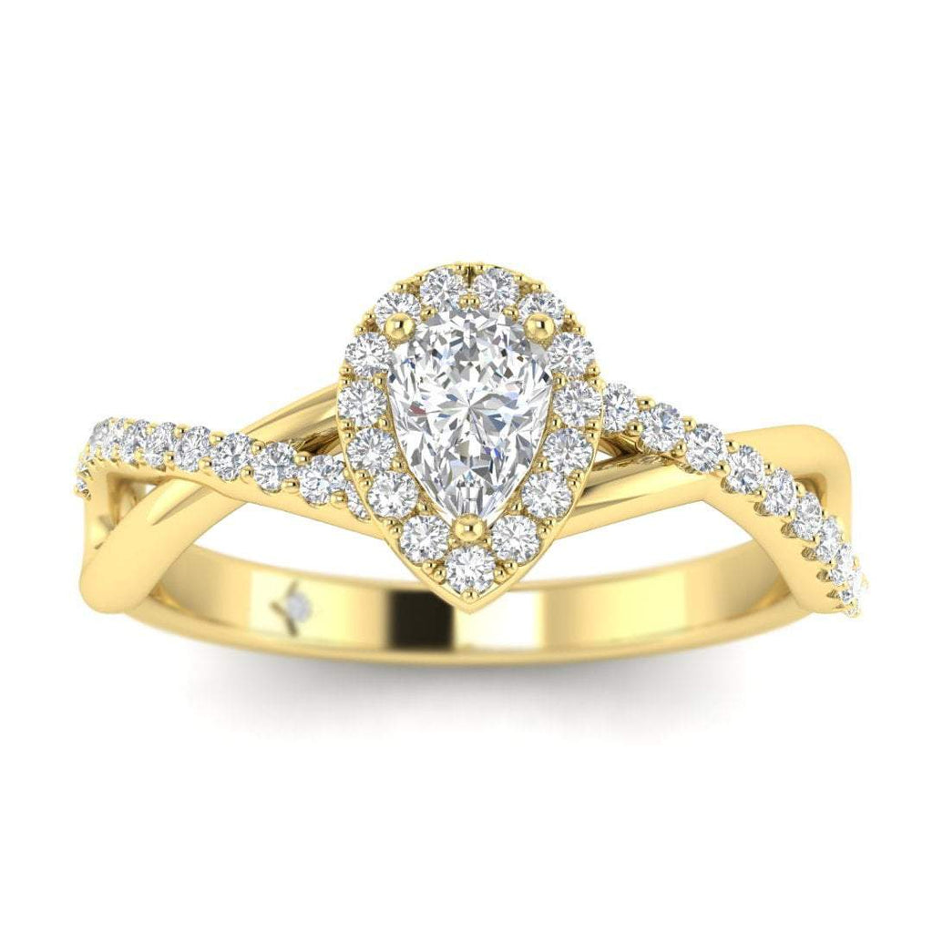 Pear Shaped Diamond Twist Pave Halo Engagement Ring in Yellow Gold - Custom Made