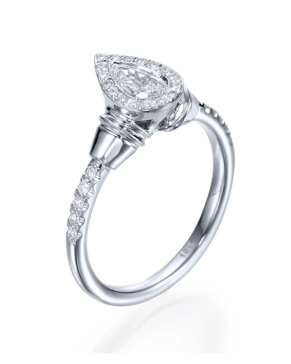 engagement rings pear shaped vintage engagement ring 065ct halo design - Pear Shaped Wedding Ring