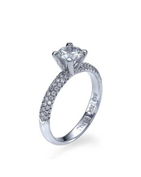 Engagement Rings Platinum 3-Row Pave Set 4-Prong Engagement Ring - 0.5ct Diamond