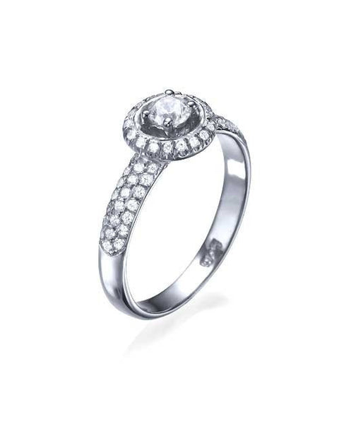 Engagement Rings Platinum 3-Row Pave Set Halo Round Engagement Ring - 0.3ct Diamond