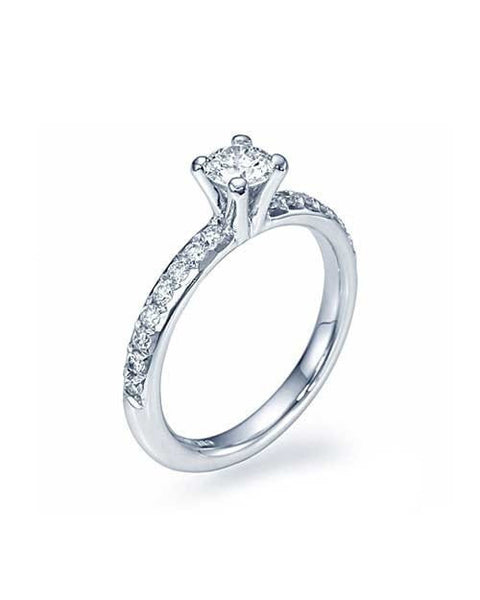 Engagement Rings Platinum 4-Prong French-Cut Pave Set Engagement Ring - 0.5ct Diamond
