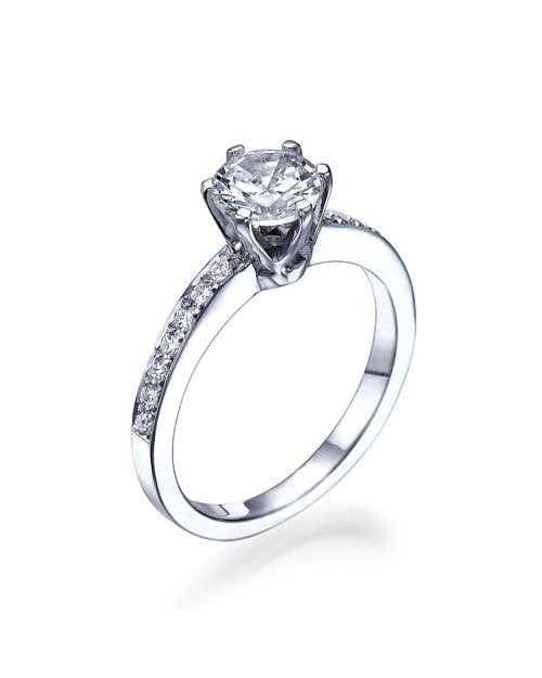Platinum 6-Prong Crown Classic Style Engagement Rings - 1ct Diamond - Custom Made