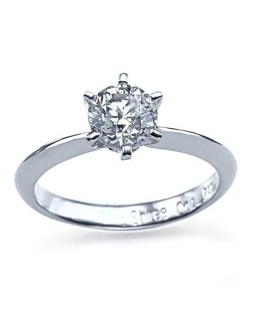 Platinum 6 Prong Round Engagement Ring Knife-Edge - 2ct Diamond - Custom Made