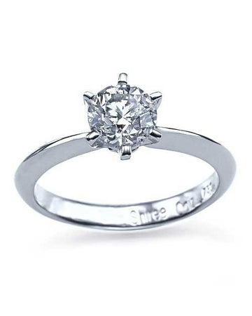 Engagement Rings Platinum 6 Prong Round Knife-Edge Diamond Semi Mount Setting
