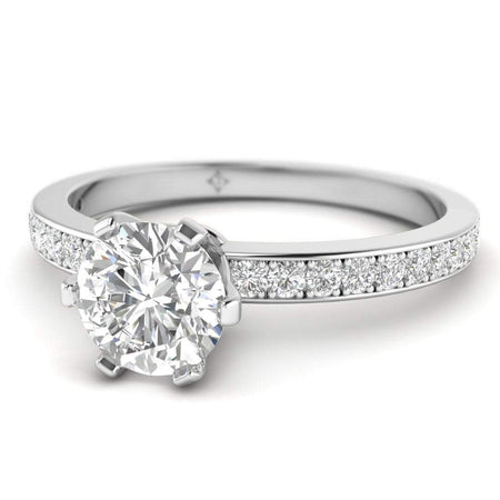 EN Platinum 6-Prong Solitaire Round Cut Diamond Engagement Ring with Pave Accents
